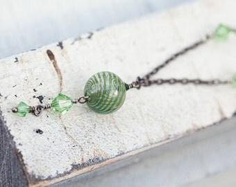 Olive Green Necklace, Olive, Green Necklace, Blown Glass Necklace, Green Glass Necklace, Green Pendant Necklace, Swarovski