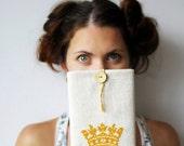 Crown - iPad mini case - Hand embroidery - OOAK