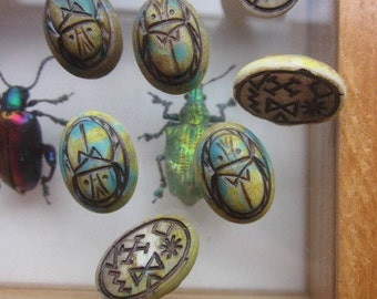 Vintage Czechoslovakia Glass Scarab Cabochon With Incised Hieroglyphic Markings