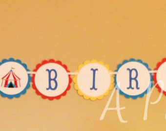 Big Top Circus Personalized Happy Birthday Banner in Red Blue and Yellow Customizable for Colors and Showers