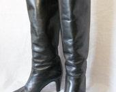 vintage 80's Italian black leather high heel boots 7-7 1/2