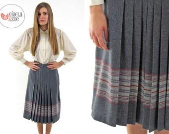 70s High-Waist Pleated Skirt ΔΔ  Prep School Plaid Pleated Skirt ΔΔ  xs