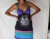 Upcycled Sundress Tshirt Kracken Giant Squid Tattoo Print Purple Pink Teal Black