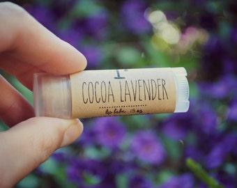 Cocoa Lavender Lip Balm, Beeswax, Shea Butter, Coconut Oil, Women, Woman, Chocolate Lavender