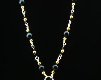 New Orleans SAINTS Inspired beaded pendant necklace with hand beading! Tibetan silver pendant of Fleur-de-lis. GEAUX SAINTS