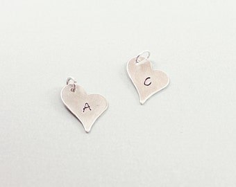 Hand stamped initial pendant - personalized heart pendant, sterling silver initial charm, custom