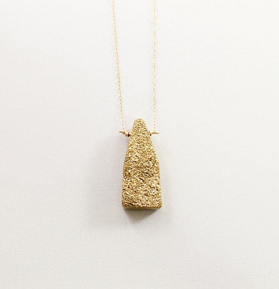 Golden titanium druzy necklace, sparkly necklace, 14K gold filled druzy jewelry
