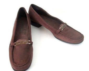 Vintage Brown Loafers/Brown Flats with Buckle Women Size 10