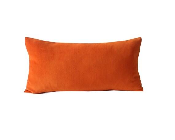 Orange Velvet Decorative Bolster Pillow Cover by NoraQuinonez