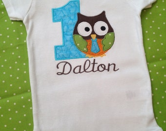 1st birthday owl bodysuit with tie, name, and age for baby boy