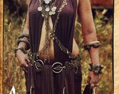 Tanya Fibula Chain Drape - Single Sides Long: Tribal Bellydance Jewelry, Bra Belt and Body Chain Drape