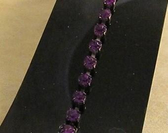 Gunmetal and Purple Rhinestone Cupchain Bracelet