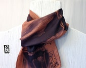 Reserved for Ana, Mens Silk Scarf Hand Painted,  Zen Bamboo Brown Silk Scarf, Silk Scarves Takuyo. Gifts for men. 7.5x52 in.