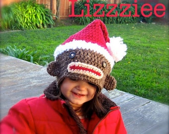 Sock Monkey Santa Crochet Hat PATTERN - Instructions to make super cute and easy hats - baby toddler child teen adult