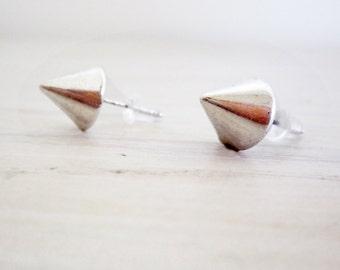 Men earring studs, men spike stud earrings, Mens silver stud earrings, Cyber goth earrings, Silver gothic stud, Electro industrial earring