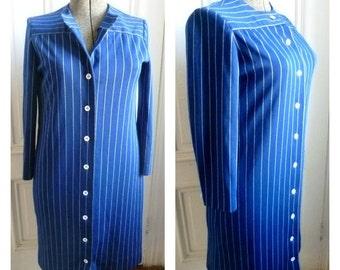Vintage 1980s Nautical Blue & White Striped Dress-L/XL