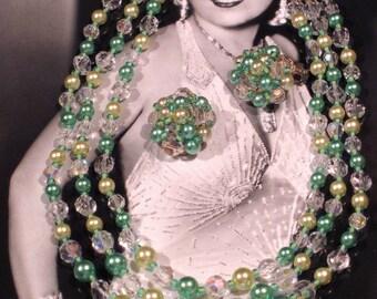 Vintage 1950's Crystal Necklace Set
