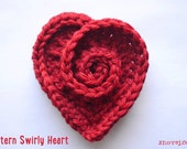 Pattern Crochet Swirly Heart Pin Brooch US & UK terminology