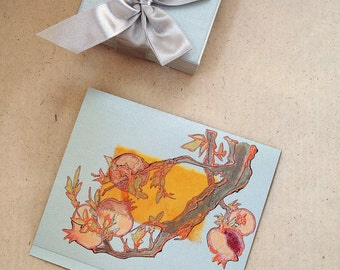 Handmade blank greeting card for any event - Copper Pomegranate Branch With Fruits - art greeting card - OOAK
