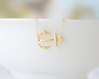 Gold Side Anchor Necklace - Rose Gold, Gold, Silver Anchor - 1222