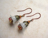 Antique Copper and Brass with Cream White Lucite Flower and Orange Amber Glass Flower Earrings