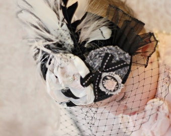 Black, Ivory and Blush Pink Fascinator Hat Photo Prop with Singed Satin Flower, Rolled Rosette, French Veil, Feathers, and Cabochon/Cameo