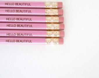 Hello beautiful 6 lavender engraved pencils. for your beautiful messages