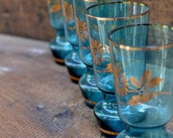 Vintage Aqua Blue Juice Glass Set