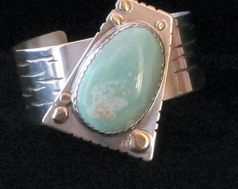 Womens Sterling Silver Cuff Bracelet with Varisite Gem Stone