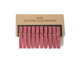 Mini Coral Glitter Clothespins. Set of Ten (10). Coral Glitter. Wedding Decor. Party Decor. Baby Shower Decor.