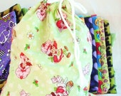 Strawberry Shortcake Kids Bag, Cute Flannel Drawstring Bag for Kids