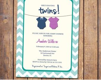 Twins Baby shower Invitation, gender neutral boy girl twins, teal pink purple, digital, printable file (item299)
