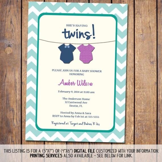 twins baby shower invitation gender neutral boy girl twins teal pink