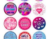 Girls Printable 1-Inch Circles / Bottlecap Images / Girly / Girls Rule / Diva / Daddy's Girl / Girl Power / Girls Rock