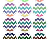 Colorful Chevron Zig Zag Pattern Design Bottlecap Images / Rainbow colors / Digital Collage Printable 1-Inch Circles / Instant Download