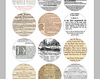 Book Pages Bottle Cap Images Ver1 / Vintage Dictionary / Newspaper Words / Printable Digital Collage / 1-Inch Circles / Instant Download