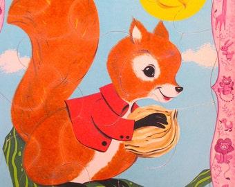 Vintage Puzzle - Squirrel - Fuzzy Wuzzy -  Frame Tray - Whitman - 1967 - Retro Toy Puzzle - Woodland Creature