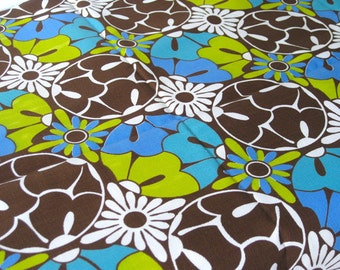 "Vintage Fabric - Flowers & Circles - Lime Green, Blue and Brown- By the Yard x 44""W - 70's - Retro Sewing Material - Craft Supply - Yardage"