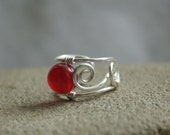 Crimson - tiny silver plated wire ear cuff with deep ruby red jade bead