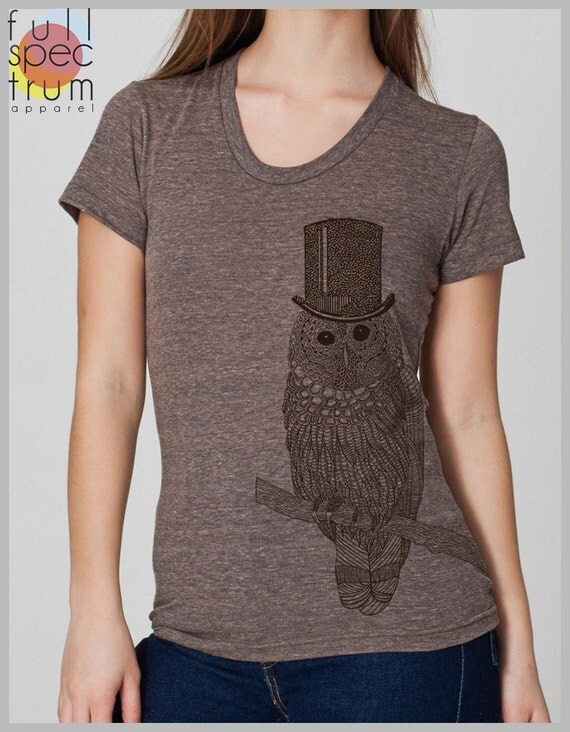 Owl with Top Hat Women's T Shirt  American Apparel S, M, L, XL 8 COLORS