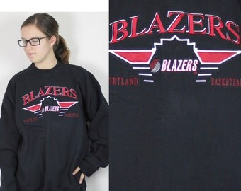 SALE Vintage Retro Trail Blazers Sweatshirt Large