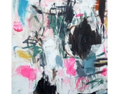 Fine art print from original abstract painting, small, fluo, expressionist