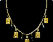 Five Hot Babes Necklace With Blue Swarovski Glass Beads