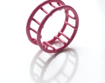 cage ring powdercoated in pink handmade in Quebec City, wire ring with plastic enamel, Circus collection, SALE 75% OFF