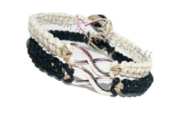 Infinity Bracelets, Personalized Jewelry, couple bracelets, Best Friend Bracelets, Best Friend Gift, Custom Bracelets, Black White Bracelets