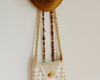 Handmade Crochet cross body bag /Neutral color /small size