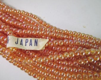 200 Vintage 3mm Iridescent Peach Beads Bd920