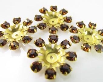 6 Vintage Swarovski Smoke Topaz Crystal Finding Components Cr54