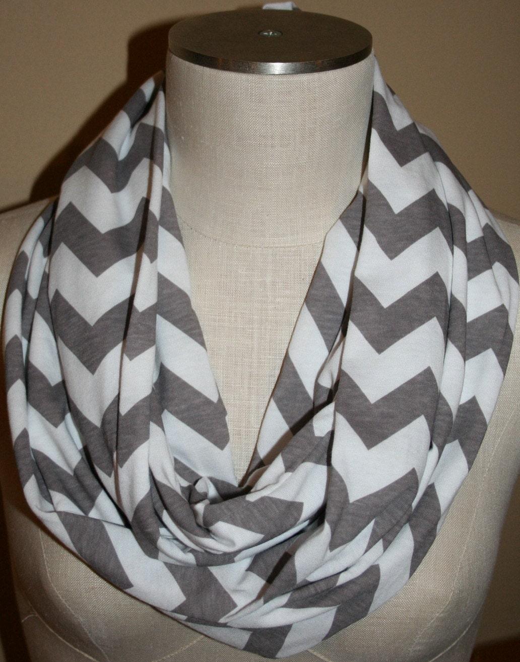 infinity scarf grey chevron on white zig by