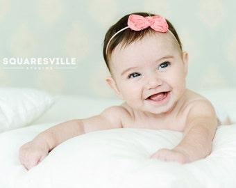 Baby Headband, Newborn Headband, Girls Headband, Toddler headband, Infant Headband,Shabby Bow Headband- PICK YOUR COLOR